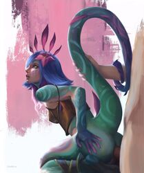 anal anal_sex animal_humanoid arched_back blue_hair bottomless chameleon_humanoid clothed clothing duo female female_penetrated flower from_behind_position green_scales hair hair_ornament hand_on_butt hi_res human human_on_humanoid humanoid kneeling league_of_legends leather light_skin lizard_humanoid looking_up male male/female male_penetrating multicolored_hair neeko penetration penis plant raised_tail reptile reptile_humanoid riot_games sex solo_focus tail_grab unimun video_games yellow_eyes