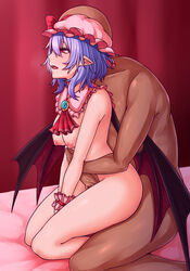 1boy ascot bald bangs bat_wings bed blue_hair bow breasts brooch commentary_request curtains detached_collar female frilled_shirt_collar frills from_side hair_between_eyes hat hat_bow highres indoors jewelry kneeling medium_breasts mob_cap nipples nude open_mouth pink_headwear pointy_ears profile red_bow red_eyes red_neckwear remilia_scarlet sex straight thighs touhou wings wrist_cuffs zeramu