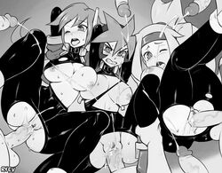 3girls 6+boys aile aile_(megaman_zx) ashe ashe_(megaman_zx) atlas atlas_(megaman) bukkake capcom clothed_female_nude_male clothed_sex cum cum_in_pussy cum_on_body cum_on_breasts exposed_breasts exposed_pussy faceless_male facial gangbang human inti_creates mega_man mega_man_zx monochrome offscreen_character orgy reploid rule_63 ryev ryev_(artist) sex torn_bodysuit torn_clothes wince