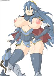 alternate_breast_size areolae big_breasts blue_eyes blue_hair fire_emblem looking_at_viewer lucina pink_nipples super_smash_bros. witchking00