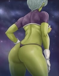 1girls alien areolae ass back breasts cheelai dragon_ball_super dragon_ball_super_broly female female_only gloves green_skin large_ass looking_away nipples panties purple_background purple_panties shirt solo standing thelorope thick_thighs white_hair wide_hips