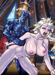 a_song_of_ice_and_fire areolae arm_grab big_breasts blonde_hair blush breasts closed_eyes elsa_(frozen) from_behind frozen_(movie) game_of_thrones humanoid night_king open_mouth rape saikyo3b screaming slave swinging_breasts vaginal_penetration