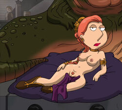 1boy 1girls armband armwear boots bracer braided_hair breasts chained collar cushion earring erect_nipples faceless_male family_guy female frost969 hair_ornament indoors jabba_the_hutt lipstick lois_griffin long_hair looking_at_viewer male nipples orange_hair princess_leia_organa pubic_hair pussy reclining red_hair red_lipstick return_of_the_jedi star_wars towel