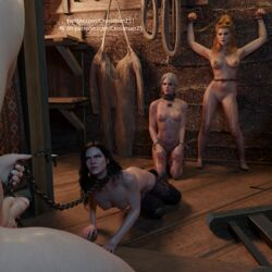 1boy 2019 3d 3girls against_wall anna_henrietta areolae black_hair blonde_hair blue_eyes bound breasts chains ciri crossman25 female green_eyes hand_on_penis looking_at_partner male nipples on_floor penis scar the_witcher the_witcher_3:_wild_hunt thighhighs vagina white_hair yellow_eyes yennefer