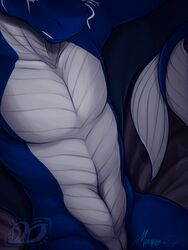 2019 absurd_res animal_genitalia anthro bed belly_scales blue_scales countershade_torso countershading dathamier dragon front_view genital_slit grey_scales half-length_portrait hi_res idoodle2draw inviting lounging male manly markings multicolored_scales nude pecs portrait pose presenting purple_background runes scales scalie seductive signature simple_background slit smile solo symbol two_tone_scales western_dragon white_countershading