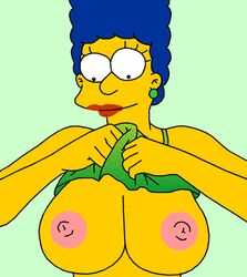 animated artist_request blue_hair breasts breasts_out colette_choisez edit female large_breasts marge_simpson nipples solo tank_top the_simpsons third-party_edit