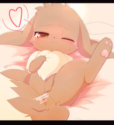 3_toes anus bedding blush brown_fur censor_bar censored chest_tuft dipstick_tail ears_down eevee female fluffy fluffy_tail fur half-closed_eyes heart inviting long_ears looking_at_viewer lying multicolored_tail nintendo on_back one_eye_closed pawpads pink_pawpads pivoted_ears pokémon_(species) pokemon presenting presenting_pussy pussy solo spread_legs spreading sweat syuya toes tuft video_games