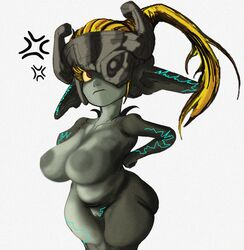 1girls angry annoyed big_ass big_breasts boltss chubby female female_only imp_midna long_hair midna nintendo ponytail pussy shortstack solo solo_female the_legend_of_zelda thick_thighs twilight_princess wide_hips