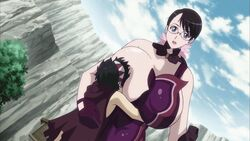 breast_out breast_smother breast_sucking breasts cattleya dark_hair exposed_breast face_plant gigantic_breasts glasses height_difference hug huge_breasts hugging larger_female milf mother_and_son nipple queen's_blade rana size_difference smaller_male smothering