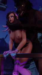 1boy 1girls 1monster 3d animated areolae blender bouncing_breasts breasts comandorekin female from_behind male monster nipples no_sound overwatch sex sombra thighhighs webm werewolf