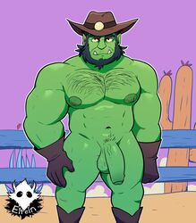 balls beard body_hair boots chest_hair clothing cowboy elfein facial_hair fence flaccid footwear gloves green_body hat headgear headwear hi_res humanoid humanoid_penis looking_at_viewer male muscular navel nipples not_furry nude orc penis uncut vein veiny_penis yellow_sclera