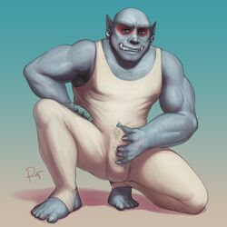 1:1 2019 5_fingers 5_toes anthro arm_hair biceps biped blue_eyes body_hair bulge chest_hair claws clothed clothing digital_media_(artwork) enoch_kersey erection erection_under_clothing fangs feet front_view fully_clothed gradient_background grey_skin grin hairy hi_res humanoid leotard looking_at_viewer male muscular muscular_male not_furry on_one_knee orc plantigrade pointy_ears precum rov signature simple_background smile solo teeth tight_clothing toe_claws toes white_claws