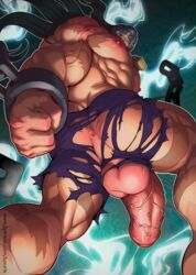 1boy abs anus bara big_balls big_penis character_request clothes flaccid gay luxuris male_focus male_only muscle pecs yaoi yu-gi-oh!