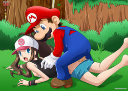 barefoot blue_eyes breasts brown_hair bush crossover eyebrows female forest from_behind from_behind_position gloves hair hat hilda_(pokemon) long_hair looking_back mario moustache nintendo nipple_slip nipples on_stomach open_mouth outdoors overalls palcomix palcomix_vip pants pants_down penis pokemon pokemon_(game) pokemon_bw sex shoes super_mario_bros. testicles tree