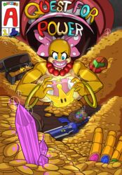 anthro bald_female big_breasts big_lips bow comic cover eyelashes furry huge_breasts infinity_gauntlet koopa koopalings loonyjams mario necklace nintendo pink_lipstick quest_for_power scalie super_crown super_mario_bros. wendy_o._koopa yellow_skin