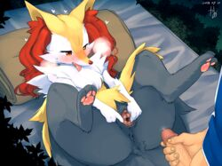 1boy 1girls 2018 anthro ass bedding blanket blush braixen canine chest_tuft clothed clothing dated faceless_male feet female fox fur furry half-closed_eyes heavy_breathing human in_heat inner_ear_fluff interspecies kame_3 large_ass laying_on_bed male male_human/female_anthro male_human/female_pokemon male_pov mammal nintendo on_back open_mouth outside pawpads paws penis pokémon_(species) pokemon pokemon_xy pov pussy pussy_juice spread_legs spread_pussy spreading straight text thick_thighs tuft veins veiny_penis video_games watermark wet wide_hips