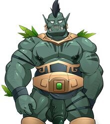 absurd_res balls bottomless clothed clothing ear_piercing facial_piercing flaccid hi_res humanoid humanoid_penis maldu male muscular muscular_male nipples nose_piercing nose_ring not_furry orc pecs penis piercing simple_background solo white_background