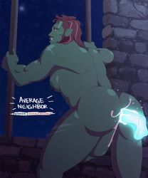1boy 1orc anal animated areolae average_neighbor balls big_ass bouncing_pecs bouncing_penis brick_wall bubble_butt cum cum_drip cum_in_ass cum_inside disembodied_penis erection exophilia facial_markings gay glowing_penis green_skin large_areolae long_hair looking_back looking_pleasured magenta_hair magic magic_penis male/male male_only moobs muscular night night_sky nipple_holes nipples no_sound orc orgasm pecs perineum pointy_ears prison prison_bars prison_cell red_hair stars swinging_penis tagme thick_thighs thrusting tusks unknown_species webm yaoi
