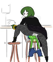 1boy 1girls age_difference anthro anthrofied ass big_ass boots bracelet chair closed_eyes clothed clothed_sex clothing duo ear_piercing ear_ring etcexera female female_focus footwear gardevoir green_hair green_skin heavy_breathing humanoid incest interspecies jewelry kirlia larger_female leg_up male mature_female mother mother_and_son nintendo on_top original_character parent partially_colored penetration penis piercing pokémon_(species) pokemon pokemon_rse pussy riding sex size_difference sketch smaller_male solo_focus son spread_legs straight table testicles thick_thighs torn_clothing trembling vaginal_penetration video_games wide_hips