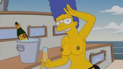 blue_hair boat breasts champagne edit edited eye_contact looking_at_viewer marge_simpson monokini mother realistic smile sunbathing the_simpsons wife yacht yellow_skin