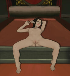 anaxus avatar_the_last_airbender azula bare_shoulders bed bed_sheet bedroom black_hair breasts female laying_down long_hair looking_at_viewer naked nipples pussy small_breasts smiling solo_focus spread_legs tagme