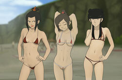 3girls anaxus areolae armpits arms_behind_head avatar_the_last_airbender azula beach bikini black_hair bra braid breasts brown_hair covered_nipples crown eyes_closed female female_only gold_eyes hand_behind_head hand_on_hip long_hair looking_at_another looking_at_viewer mai nipples outdoors panties ponytail posing pussy skimpy_clothes small_breasts smiling standing string_bikini tagme ty_lee wedgie