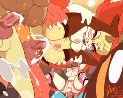 3boys 3girls 4_fingers ahe_gao anal animal_genitalia animal_penis anthro anthrofied areolae armpits big_ass big_ears black_hair blush body_writing boots braixen breasts canine canine_penis claws cum cum_in_ass cum_in_pussy cum_inside drooling excessive_cum fairy feline female flexible fox furry gayghiel_(masterploxy) glasses group group_sex hair hair_over_eyes half-closed_eyes holding huge_penis incineroar interspecies knot lagomorph large_breasts leg_grab lopunny lucario male masterploxy mawile multiple_boys multiple_girls multiple_penises nintendo nipples nude open_mouth orange_fur orgy original_character penetration penis pokemon pokemon_dppt pokemon_rse pokemon_sm pokemon_xy pussy pussy_juice red_eyes red_fur rolling_eyes rough_sex saliva sex spread_legs squirting standing straight sweat tally_marks teeth text thick_thighs thighhighs tongue tongue_out vaginal_penetration veins veiny_knot veiny_penis video_games watermark wet white_fur wide_hips wrestling_ring yellow_fur