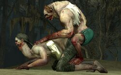 3d 3d_(artwork) ambiguous_penetration arm_support ass bicep big_butt blood bra bra_strap breasts bushes calves clothed clothed_sex dirt feet feet_on_leg female fog grass green_shorts hair hands_on_back infected jockey larger_female leaves left_4_dead left_4_dead_2 long_arms long_neck looking_at_partner looking_down looking_forward male male/female male_only morning muscle muscles muscular muscular_legs muscular_male muscular_thighs noseless on_knees open_mouth outside pale-skinned_male pale_skin panties pants penetration perching_position pigtail plants rings ripped_clothing ripped_pants scars sex shorts skinny sky small_dom_big_sub smaller_male spitter straight swamp tank_top teeth thighs torn_clothes torn_clothing tree trees twintails zombie