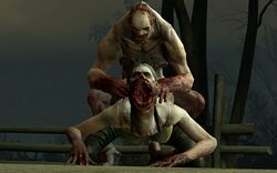 3d 3d_(artwork) ambiguous_penetration arm_support biceps big_arms big_breasts big_mouth blood bra bra_strap breasts bushes calves dirt feet female fence fingernails fog front_view gaping_mouth hair hands_on_back hanging_breasts infected jockey larger_female left_4_dead left_4_dead_2 long_neck looking_at_partner looking_at_viewer looking_down looking_pleasured male male/female male_only morning muscle muscles muscular muscular_arms muscular_legs muscular_male noseless on_knees open_mouth outside pale-skinned_male pale_skin pants pecs penetration perching_position pigtail plants rings ripped_clothing scars sex skinny sky small_dom_big_sub smaller_male spitter straight swamp tank_top teeth thighs throat torn_clothes torn_clothing tree trees twintails vein wood wooden_fence zombie