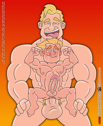 2boys 4_fingers age_difference anal anal_sex anus balls blonde_hair circumcised dash_parr disney drooling erection father_and_son flexing gay impossible_fit incest male_only muscle nipples pale-skinned_male pale_skin penis pixar plain_background pubic_hair robert_parr saliva sex size_difference stomach_bulge the_incredibles yaoi