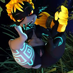 3d ass blonde_hair breasts featureless_breasts feet female grass hair humanoid imp imp_midna looking_at_viewer midna navel nintendo not_furry nude pointy_ears pussy red_eyes seductive sharp_teeth short_stack smile solo teeth the_legend_of_zelda thenaysayer34 thick_thighs toes tree twili twilight_princess video_games