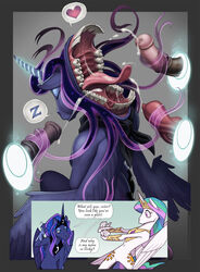 2019 alicorn animal_genitalia animal_penis anthro anthrofied conditional_dnp cum dialogue english_text equid equine_penis erection female friendship_is_magic heart hi_res horn knot loupgarou mammal my_little_pony nightmare_fuel penis portal princess_celestia_(mlp) princess_luna_(mlp) scared sleeping teeth text wings