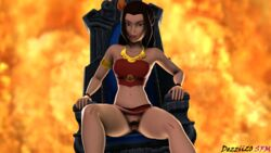 1girl avatar_the_last_airbender azula dezzii20 female_only fire looking_at_viewer pubic_hair pussy red_nails sitting source_filmmaker swimsuit swimsuit_aside throne upskirt