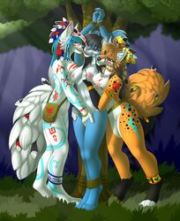 2019 4_toes 5_fingers anthro anthro_on_anthro areola blue_hair bondage bound breasts canid canine canis digital_media_(artwork) digitigrade female female/female forest fox fur grass hair hi_res mammal nipples orange_fur rodent rope sciurid smile standing tales_foxdale toes tree tribal wolf yuri