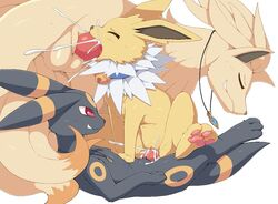 1girls 2boys bell big_ears big_penis big_tail black_fur blush canine canine_penis closed_eyes collar cum cum_in_mouth cum_in_pussy cum_inside eeveelution erection feet fellatio female feral feral_on_feral flat_chest fox grin group group_sex interspecies jewelry jolteon knot large_penis larger_male leaking long_ears male necklace ninetales nintendo no_nipples nude on_top oral original_character pata paws pokémon_(species) pokemon pokemon_gsc pokemon_rgby red_eyes sex sitting size_difference smaller_female smile spitroast straight tail teeth testicles thick_thighs threesome umbreon video_games white_fur wide_hips yellow_fur