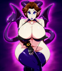 2019 almost_nude belly_piercing big_butt birthmark blue_eyes brown_hair collar cursed demon demon_girl eyebrows_visible_through_hair eyeshadow female female_focus female_only gloves glowing horn horns huge_ass huge_breasts huge_butt leggings lipstick long_ears looking_at_viewer looking_pleasured makeup not_safe_for_reality projared purple_background succubus tail thick_thighs white_skin why wings