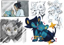 1boy 2019 altered_reflection ambiguous_gender angry ass big_ears black_fur blue_fur closed_eyes clothed clothing disembodied_hand feet feral furry group hair heart human human_to_feral humanoid interspecies larger_male luxio male mammal nakitacat nintendo nude open_mouth partially_colored paws penis pokémon_(species) pokemon pokemon_dppt reflection sequence sheath shinx shirt sitting size_difference sketch species_transformation spoken_heart tail teeth testicles text thick_thighs topwear transformation video_games watermark wide_hips yellow_eyes yellow_fur