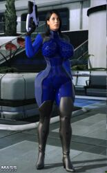 1girls 3d ashley_williams big_breasts black_hair bodysuit boots busty cleavage curvy detailed_background eyelashes female female_only front_view gloves gun high_heel_boots high_heels holding_object hourglass_figure huge_breasts human long_hair looking_at_viewer mass_effect outdoor outside pose posing shadow solo spread_legs spreading standing thick_thighs tight_clothing video_game video_games voluptuous weapon wide_hips xskullheadx