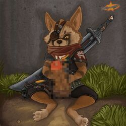 2019 animated anthro balls barefoot biomutant censored claws clothing erection eye_patch eyewear fur humanoid_penis looking_down male mammal melee_weapon mostly_nude on_ground penis procyonid raccoon s-o-husky sitting solo spread_legs spreading sword thick_penis toe_claws unknown_character video_games weapon yellow_eyes