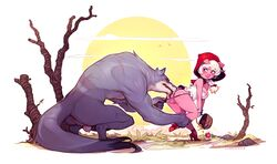 2017 absurd_res anthro anthro_on_feral anus apple balls basket big_breasts blonde_hair blush braided_hair breasts canid canine canis clothed clothing cyancapsule domestic_pig dress emelie female female_on_feral feral food freckles fruit hair hi_res hood little_red_riding_hood little_red_riding_hood_(copyright) looking_back mammal panties pink_skin plant purple_eyes pussy signature size_difference smile suid suina sus_(pig) teeth tree underwear wolf zoophilia