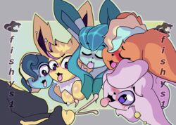 1boy 1girls 2019 ambiguous_gender anthro anthrofied blush breasts canine digital_media_(artwork) eeveelution espeon female fishys1 flareon fur furry glaceon hair hair_over_one_eye heart heart-shaped_pupils hi_res interspecies jolteon male male_pov mammal nintendo nipples nude open_mouth original_character penis pokémon_(species) pokemon pokemon_gsc pokemon_rgby pov purple_eyes simple_background smile text tongue vaporeon video_games watermark