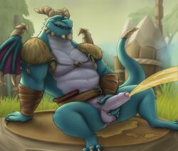2018 3_toes 4_fingers anthro arm_wraps balls belt blue_scales bottomless bubba_(spyro) clothed clothing dragon erection front_view grass hi_res humanoid_penis looking_at_viewer male muscular muscular_male noodlewd outside partially_clothed partially_retracted_foreskin peeing penis presenting presenting_penis scales sitting smile solo spyro_reignited_trilogy spyro_the_dragon toes tree uncut urine video_games watersports wings wraps