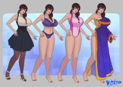 big_breasts bra breasts brown_hair character_design character_sheet dress female female_only legs lingerie long_hair original_character panties robe skirt solo solo_female swimsuit underwear zackri