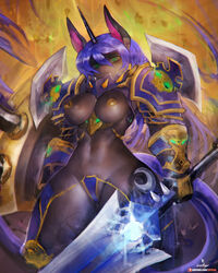 anthro armor black_fur blizzard_entertainment blue_hair breasts clothed clothing convincing_weapon cosplay equid equine female friendship_is_magic fur fur_markings girlsay green_eyes hair hi_res horn looking_at_viewer looking_down low-angle_view mammal markings medium_breasts melee_weapon moon my_little_pony princess_luna_(mlp) shoulder_guards skimpy solo sword thick_thighs thunderfury_blessed_blade_of_the_windseeker unconvincing_armor unicorn video_games warcraft weapon wide_hips