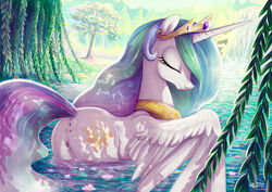 1girls adlynh alicorn animal_ears animal_genitalia animal_pussy anus ass butt clitoral_winking clitoris closed_eyes crown cutie_mark dat_ass edit equid equine_pussy eyelashes feathered_wings feathers female feral friendship_is_magic fur gold_(metal) hasbro horn jewelry lake long_hair mammal mane mare multicolored_hair multicolored_mane multicolored_tail my_little_pony necklace outside princess princess_celestia_(mlp) pussy royal royalty smile solo tail tiara tree vagina water waterfall white_feathers white_fur winged_unicorn wings