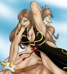 1boy 1girls big_breasts bracelet breasts brown_hair capcom chinese chun-li cleavage clothing cowgirl_position duo female hair long_hair lunareyes male penetration penis pussy riding sex spiked_bracelet straight street_fighter street_fighter_v vaginal_penetration video_games