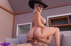 3d anus ashe_(overwatch) ass blender breasts cowgirl_position duo female looking_at_viewer male overwatch straight the_halfmexican vaginal_penetration white_hair
