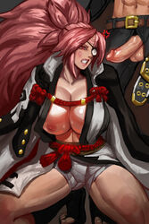 1boy 1girls anger_vein angry areolae baiken balls belt big_hair big_penis blush breasts cameltoe cleavage clenched_teeth cloak collarbone curvy duo eye_patch eyelashes faceless_male facial_markings feet female footwear full_body guilty_gear highres huge_breasts human imminent_oral johnny_sfondi large_breasts lipstick long_ponytail male nipples one_breast_out penis penis_out pink_eyes pink_hair pink_lipstick ponytail rhydwyn sandals shiny_skin solo_focus squatting straight thick_thighs toes