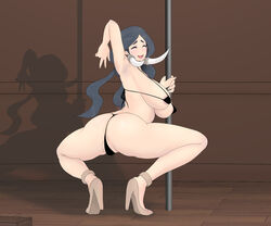 1girls armpit armpits ass bikini black_hair blush breasts brown_background busty closed_eyes drasna feet female female_only high_heels huge_ass huge_breasts human long_hair mature nintendo pokemon pokemon_xy pole pole_dancing shadow sideboob smile spread_legs squatting thick_thighs v wide_hips