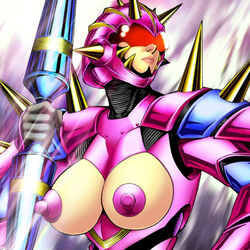 armor breasts duel_monster edit exposed_breasts female large_breasts nipples solo super_robolady yu-gi-oh!